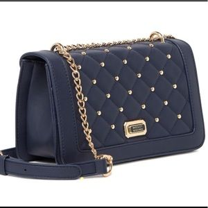 Badgley Mischka black bag quilted with gold studs